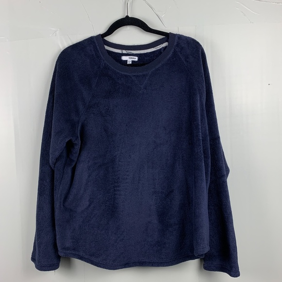 Sonoma Blue Faux Fur Pull Over Sweater
